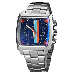 Χαμηλού Κόστους Ατσάλινο μπρασελέ για ρολόγια-Ανδρικά Μοναδικό Creative ρολόι μηχανικό ρολόι Ρολόι Καρπού Αυτόματο κούρδισμα Ημερολόγιο Ανοξείδωτο Ατσάλι Μπάντα Πολυτέλεια Ασημί