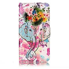 voordelige Hoesjes / covers voor LG-Voor lg g6 hoesje hoesje olifant en bloemen patroon shine relief pu materiaal kaart stent portemonnee telefoon hoesje