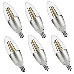 お買い得  LED 電球-6本 5W 500lm E14 LEDキャンドルライト C35 35 LEDビーズ SMD 3528 装飾用 温白色 ホワイト 110-130V 220-240V