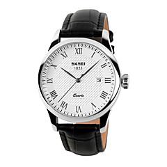 お買い得  メンズ腕時計-SKMEI 男性用 リストウォッチ クォーツ 30 m 耐水 カレンダー レザー バンド ハンズ チャーム ファッション ブラック / ブラウン - ゴールデン ホワイト-ブラック ホワイト / ブラウン 2年 電池寿命 / Maxell CR2016