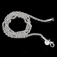 billiga Halsband-Dam Sterlingsilver Silver Kedje Halsband - Grundläggande Minimalistisk Stil Smycken Halsband Till Bröllop Party Gåva Dagligen Casual