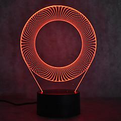 Χαμηλού Κόστους LED & Φωτισμός-1pc 3D Nightlight Αγγίξτε 7-Χρώμα Τροφοδοτείται μέσω USB Με θύρα USB