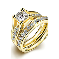 preiswerte Ringe-Damen Bandring / Ring / Verlobungsring - Titanstahl Simple Style, Modisch, Brautkleidung 6 / 7 / 8 Gold Für Weihnachts Geschenke / Hochzeit / Party / Ringe Set