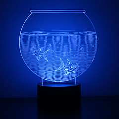 cheap LED Novelty Lights-1pc 3D Nightlight Touch 7-Color USB Powered with USB Port