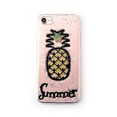 Недорогие Кейсы для iPhone-Кейс для Назначение Apple iPhone 7 Plus iPhone 7 Прозрачный С узором Кейс на заднюю панель Фрукты Сияние и блеск Мягкий Силикон для