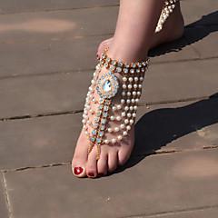 Kadın Ayak bileziği/Bilezikler İmitasyon İnci Yapay Elmas alaşım Eski Tip Damla Mücevher Için Günlük 1pc