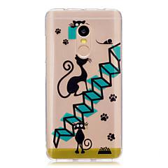Для xiaomi redmi примечание 4 примечание 3 обложка обложка мультфильм кошка рисунок задняя обложка мягкий tpu красныйmi примечание