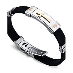 preiswerte Armbänder-Herrn ID Armband - Titanstahl Freunde Rockig, Modisch, Hip-Hop Armbänder Schwarz Für Weihnachts Geschenke / Geburtstag / Geschenk