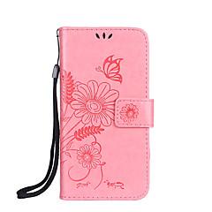 Недорогие Кейсы для iPhone 4s / 4-Кейс для Назначение Apple iPhone 7 Plus iPhone 7 Бумажник для карт Кошелек со стендом Флип Магнитный С узором Рельефный Чехол Бабочка