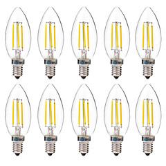 preiswerte LED-Birnen-BRELONG® 10 Stück 4 W 350 lm E14 LED Glühlampen C35 4 LED-Perlen COB Dekorativ Warmes Weiß / Weiß 220-240 V
