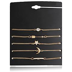 Damskie Bransoletki i łańcuszki na rękę Przyjaźń Modny Cyrkon Posrebrzany Stop Star Shape MOON Biżuteria NaŚlub Impreza Specjalne okazje
