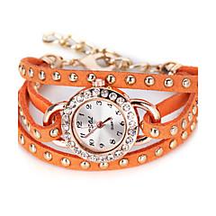 preiswerte Damenuhren-Damen Quartz Einzigartige kreative Uhr Modeuhr Chinesisch Großes Ziffernblatt Leder Band Retro Schwarz Weiß