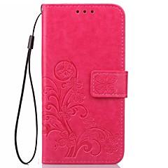 Недорогие Чехлы и кейсы для Motorola-Кейс для Назначение Motorola Бумажник для карт Кошелек со стендом Флип Магнитный С узором Рельефный Чехол Сплошной цвет Цветы Твердый