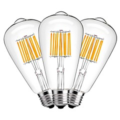 お買い得  LED 電球-3本 10W 1000lm E27 フィラメントタイプLED電球 ST64 10 LEDビーズ COB 装飾用 温白色 220-240V