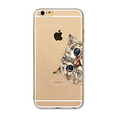 Capinha Para Apple iPhone X iPhone 8 Plus Transparente Estampada Capa Traseira Gato Macia TPU para iPhone X iPhone 8 Plus iPhone 8 iPhone