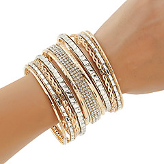 Women's Bangles Cuff Bracelet ID Bracelets Rhinestone Punk Multi Layer Costume Jewelry Fashion Bohemian Metal Alloy Rhinestones Circle