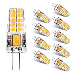preiswerte LED-Birnen-BRELONG® 10 Stück 2W 300lm G4 LED Doppel-Pin Leuchten T 20 LED-Perlen SMD 2835 Warmes Weiß Weiß 12V