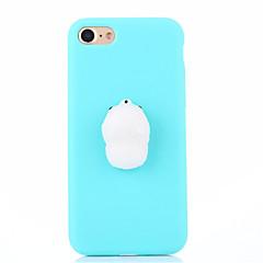 Недорогие Кейсы для iPhone-Кейс для Назначение Apple iPhone 7 Plus iPhone 7 болотистый Своими руками Кейс на заднюю панель Сплошной цвет 3D в мультяшном стиле Мягкий