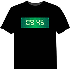 cheap LED Novelty Lights-Light Up LED T-shirts T-Clock Time Display Cotton Novelty 4 AAA Batteries