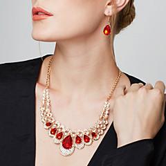 Kadın's Takı Seti Damla Küpeler Açıklama Kolye Küpe Mutfak Kolyeleri Moda Avrupa Zarif lüks mücevher Sentetik Taşlar Simüle Elmas Damla