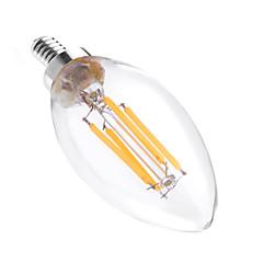 baratos Lâmpadas de LED-YWXLIGHT® 4W 300-400lm E12 Luzes de LED em Vela C35 4 Contas LED COB Regulável Decorativa Branco Quente 110-130V
