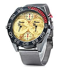 preiswerte Herrenuhren-Herrn Armbanduhren für den Alltag / Modeuhr / Armbanduhr Chinesisch Duale Zeitzonen / Cool / Großes Ziffernblatt Metall Band Freizeit Schwarz