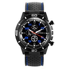 preiswerte Herrenuhren-Herrn Quartz Armbanduhr Sportuhr Armbanduhren für den Alltag Silikon Band Cool Schwarz
