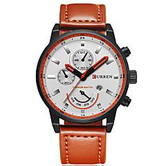 お買い得  大特価腕時計-男性用 スポーツウォッチ 軍用腕時計 リストウォッチ クォーツ カレンダー クリエイティブ クール 本革 バンド ハンズ チャーム ぜいたく カジュアル ブラック / カーキ - ブラック カーキ色 2年 電池寿命 / Maxell SR626SW