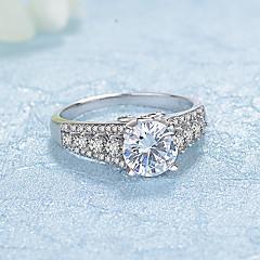 preiswerte Ringe-Damen Kubikzirkonia Bandring - Sterling Silber, Platiert Modisch, Elegant 6 / 7 / 8 Silber Für Hochzeit / Verlobung / Zeremonie