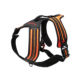 Dog Harness Anti-Slip Reflective Breathable Safety Adjustable Solid Polyester Nylon Black Orange Yellow Fuchsia Blue