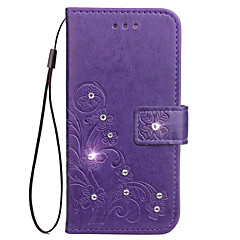 Case For Motorola Moto G5 Plus G5 Case Card Holder Rhinestone with Stand Flip Embossed Full Body Case Flower Hard PU Leather for G4/G4 Plus G4 Play