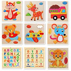 abordables Niños Puzzles-Tarjetas Educativas Fidget de escritorio Bloques de Construcción Puzzle Juguetes matemáticos Fruta Animales De madera 9pcs Dibujos Adulto