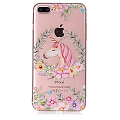 Недорогие Кейсы для iPhone-Кейс для Назначение Apple iPhone X iPhone 8 Прозрачный С узором Рельефный Кейс на заднюю панель единорогом Цветы Мягкий ТПУ для iPhone X