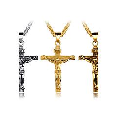 Męskie Naszyjniki z wisiorkami Cross Shape Stal tytanowa Modny Křížky Osobiste Hip-Hop Metaliczny Biżuteria NaImpreza Panieński Ulica