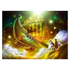 رخيصةأون -بانوراما الألغاز تركيب اللبنات DIY اللعب سفينة حصان كرتون نجمة
