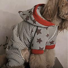 お買い得  犬用ウェア&アクセサリー-犬 ジャンプスーツ 犬用ウェア 縞柄 レッド コットン コスチューム ペット用 男性用 / 女性用 ハロウィーン
