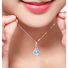 preiswerte Halsketten-Damen Synthetischer Diamant Geometrisch Anhängerketten - Sterling Silber, Zirkon Luxus, Klassisch, Böhmische Weiß Modische Halsketten Für Weihnachten, Party, Abschluss