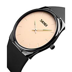 זול מבצעי שעונים-SKMEI בגדי ריקוד גברים שעוני שמלה שעוני אופנה Japanese קווארץ עמיד במים PU להקה יום יומי מינימליסטי מגניב שחור