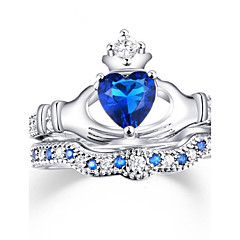 preiswerte Ringe-Damen Kubikzirkonia Bandring - Zirkon, Aleación Herz, Liebe Personalisiert, Luxus, Klassisch 6 / 7 / 8 Königsblau Für Weihnachten / Hochzeit / Party