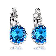 preiswerte Ohrringe-Damen Kubikzirkonia Solitär Ohrstecker / Kreolen - Zirkon Simple Style, Modisch Blau / Rosa / Golden Für Hochzeit / Party / Alltag