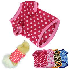 Kat Hund T-shirt Pyjamas Hundetøj Hold Varm Polka Prikker Rose Brun Blå Lys pink 5# Kostume For kæledyr