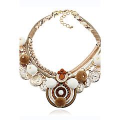 Lureme Ethnic Women's Coffee Tone Pom Pom Statement Necklace Choker with Coins Tassel