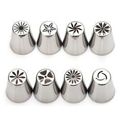 8Pcs/set Russian Flower Nozzles Stainless Steel Icing Piping Nozzles Cupcake Rose Pastry DIY Cake Decorating Tips Sets
