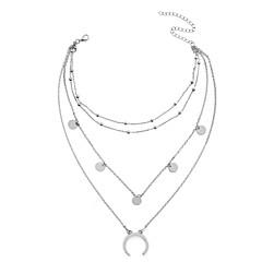 お買い得  ネックレス-女性用 真珠 レイヤード チョーカー / ペンダントネックレス / レイヤードネックレス  -  フローラル, MOON オリジナル, ファッション, 多層式 ゴールド, シルバー ネックレス 用途 パーティー, ストリート, お出かけ