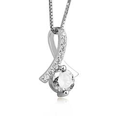 preiswerte Halsketten-Damen Kubikzirkonia Anhängerketten - Sterling Silber, Zirkon Modisch, nette Art Weiß, Purpur Modische Halsketten Für Verlobung, Zeremonie
