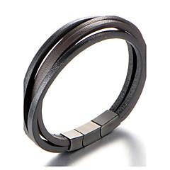 billige armbånd-Herre Geometrisk Manchetarmbånd Læder Armbånd - Læder, Titanium Stål Personaliseret, Mode Armbånd Brun Til Daglig Afslappet