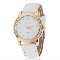 preiswerte Damenuhren-Geneva Damen Quartz Simulierter Diamant Uhr Armbanduhr Chinesisch Armbanduhren für den Alltag PU Band Charme Freizeit Eiffelturm