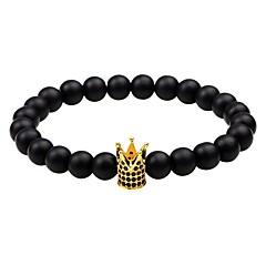 preiswerte Armbänder-Herrn Damen Obsidian Strang-Armbänder - Zirkon Krone Simple Style Armbänder Schmuck Schwarz / Silber / Rotgold Für Normal Ausgehen