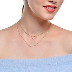 preiswerte Halsketten-Damen Kristall Mehrschichtig Halsketten / Ketten - Krystall Herz Mehrlagig Gold, Silber Modische Halsketten Für Party, Alltag