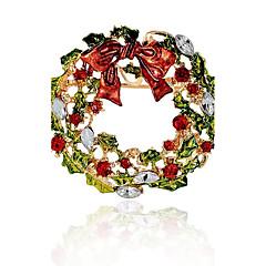 Homens Mulheres Broches Diamante sintético Hipoalergênico Chrismas Liga Formato Circular Jóias Para Natal